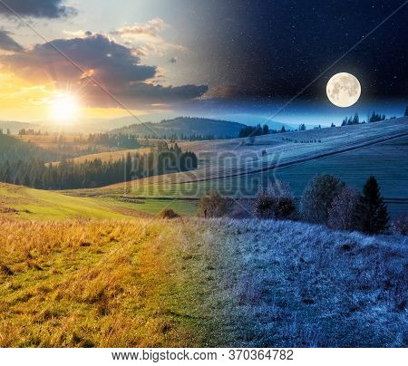 Day And Night Time Change Concept Above Forest In Red Foliage. Trees With Branches With Red Foliage