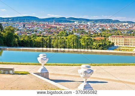 Vienna Cityscape From Gloriette Viewpoint Above Schlossberg Castle View, Capital Of Austria