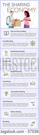 Sharing Economy Vector Infographic Template. Collaborative Consumption Ui Web Banner With Flat Chara