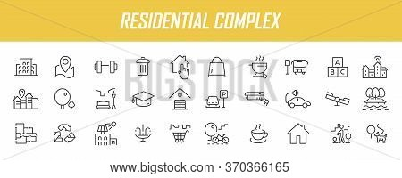 Set Of Linear Residential Complex Icons. Infrastructure Icons In Simple Design. Vector Illustration