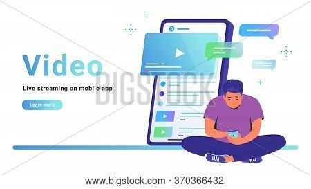 Video And Live Streaming On Mobile App. Flat Line Vector Illustration Of Cute Man Sitting Alone In L