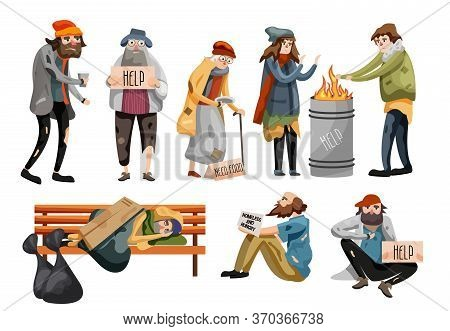Homeless People Cartoon. Unemployment People Needing Help And Food. Homeless Male And Female People