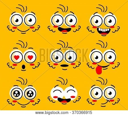 Cartoon Face Character. Funny Face Parts With Expressions Emotion Eye. Comic Doodle Smile Face, Angr