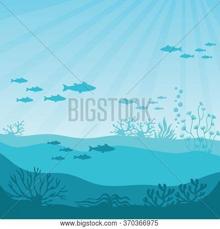 Undersea Coral Reef. Undersea Panorama Illustration. Beautiful Marine Ecosystem And Wildlife In Blue