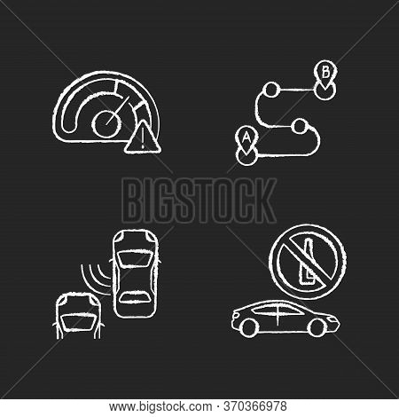 Driving Risks Chalk White Icons Set On Black Background. Traffic Dangers And Safety Precautions. Spe