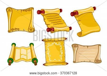 Antique Parchments. Old Paper Rolls Or Ancient Manuscripts Icons Isolated On White Background. Verti