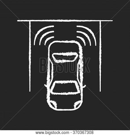 Parking Sensors Chalk White Icon On Black Background. Smart Driver Assistance, Automotive Technology
