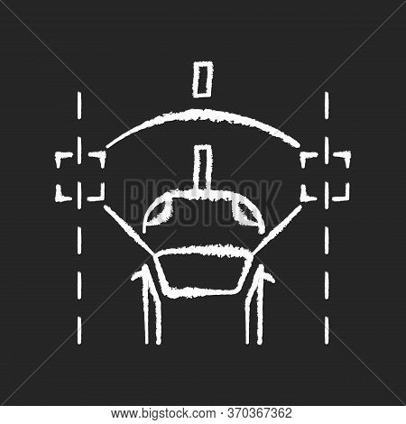 Lane Keeping Assist Chalk White Icon On Black Background. Modern Safety Driving Technology, Smart Dr