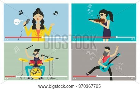 Musicians People. Videostream Of Music Festival And Entertainment Event Illustration. Girl Sings Wit