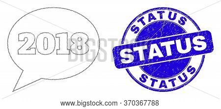 Web Mesh 2018 Message Balloon Icon And Status Seal Stamp. Blue Vector Rounded Grunge Seal Stamp With