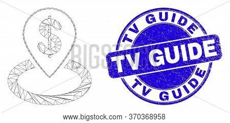Web Carcass Bank Location Icon And Tv Guide Seal Stamp. Blue Vector Rounded Textured Seal Stamp With