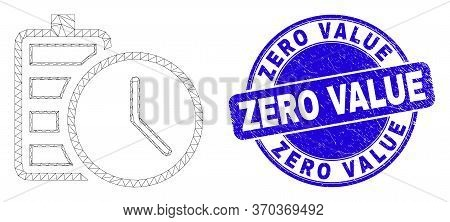 Web Mesh Battery Charge Time Pictogram And Zero Value Seal Stamp. Blue Vector Round Distress Seal St