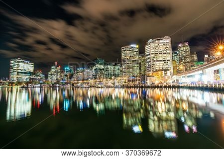 Sydney, Australia - Nov 14, 2017 : View Of Darling Harbour Bay, Cbd, Business And Recreational Arcad