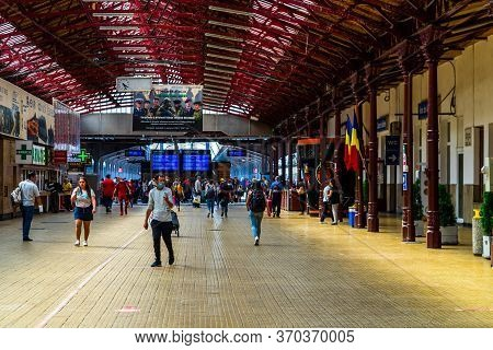 Travelers At Main Railway Station In Bucharest, The North Railway Station (gara De Nord) In Buchares