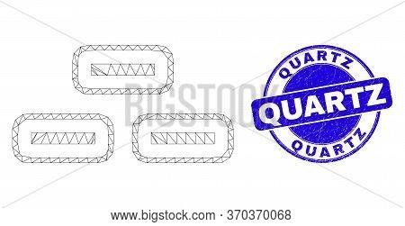 Web Mesh Bricks Pictogram And Quartz Seal Stamp. Blue Vector Round Grunge Stamp With Quartz Phrase.