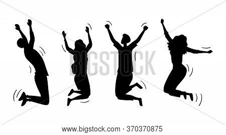Jumping Happy People Set. Silhouettes Of Young Funny Teens Boys And Girls Jumping Together. Joy Life