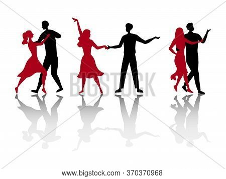Dance School Or Competitions Concept. Silhouettes Of People Enjoying Of Spending Time Together. Char