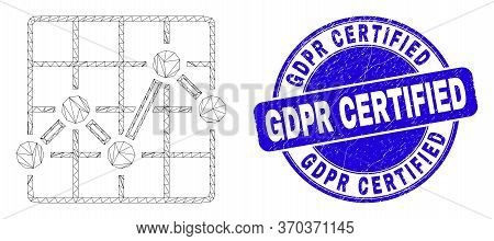 Web Mesh Chart Grid Pictogram And Gdpr Certified Seal. Blue Vector Round Scratched Seal Stamp With G