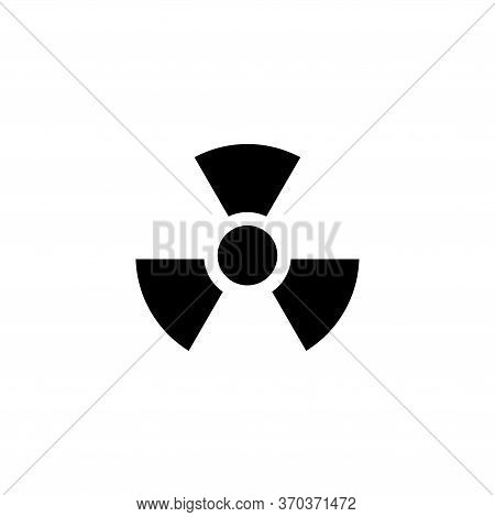 Radiation Alert, Reactor Radioactivity. Flat Vector Icon Illustration. Simple Black Symbol On White