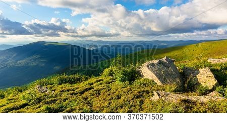 Mountain Landscape At Summer Evening. Beauty Of Nature In Green And Blue. Meadows On Rolling Hills O