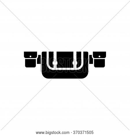 Hunting Belt, Waist Bag, Travel Molle. Flat Vector Icon Illustration. Simple Black Symbol On White B