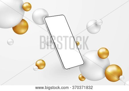 White Realistic Smartphone Mockup. 3d Mobile Phone With Blank White Screen On Light Background. Mode