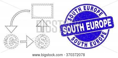 Web Carcass Currency Conversion Scheme Icon And South Europe Seal. Blue Vector Round Textured Seal S