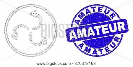 Web Mesh Cyclone Arrows Icon And Amateur Seal Stamp. Blue Vector Round Distress Seal Stamp With Amat