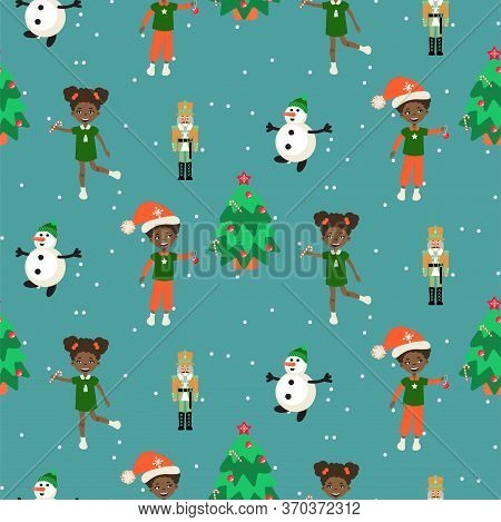 Winter Christmas Eve And Kids Seamless Pattern. Xmas Festive Background For Gift Wrap And Print.