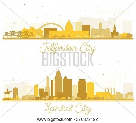Kansas City and Jefferson City Missouri Skyline Silhouettes Set with Golden Buildings Isolated on White. Tourism Concept with Historic Architecture. Cityscapes with Landmarks.