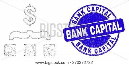 Web Mesh Dollar Aggregation Pictogram And Bank Capital Seal. Blue Vector Rounded Distress Seal Stamp