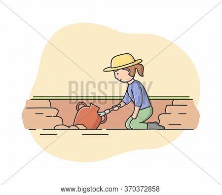 Concept Of Archeology Excavation. Archaeologist Woman Paleontology Scientist Working On Excavations.