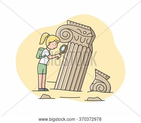 Concept Of Archaeologist Excavations. Woman Archaeologist Looking On Old Columns, Remains Of Archite