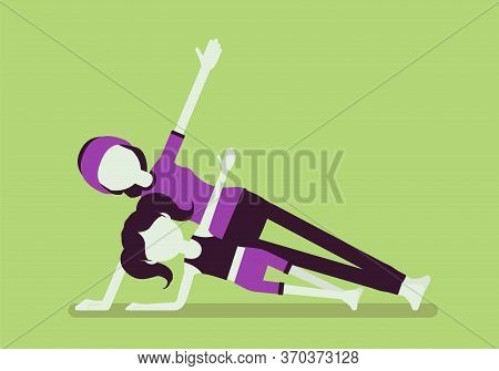 Yogi Family, Mother, Daughter In Sport Wear Practicing Yoga Together, Mom With Kid Doing Side Plank