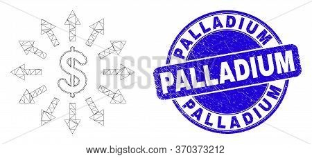 Web Carcass Dollar Emission Icon And Palladium Seal Stamp. Blue Vector Round Grunge Seal With Pallad