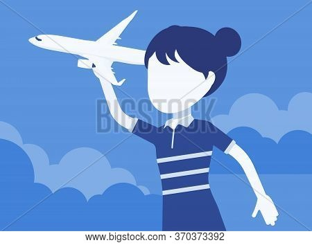Girl Playing With A Toy Airplane. Young Pilot Flying An Aircraft, Child Running Holding Aero Plane I