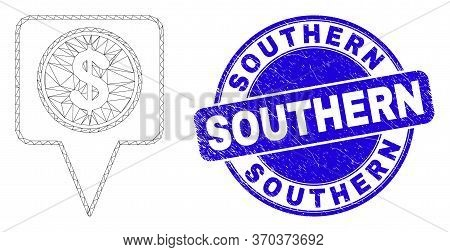 Web Mesh Dollar Map Marker Icon And Southern Watermark. Blue Vector Rounded Grunge Watermark With So