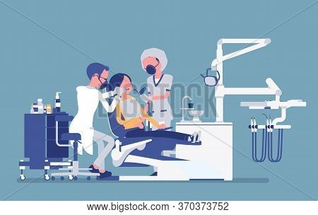 Male Dentist At Work In Clinic. Dentistry Office With Professional Equipment, Female Patient In Rece