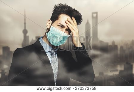Man choking due to the smog in a polluted city and wearing a mask, pollution and coronavirus concept