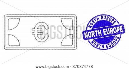Web Mesh Euro Banknotes Income Icon And North Europe Stamp. Blue Vector Round Distress Seal Stamp Wi