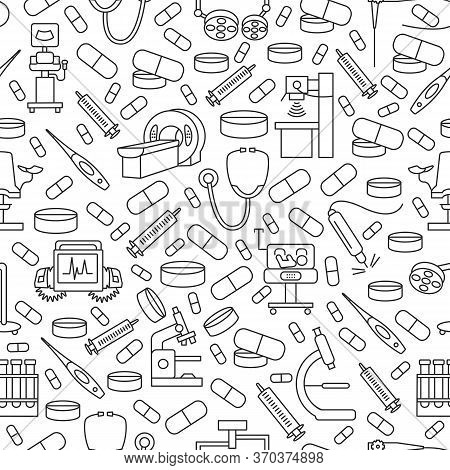 Seamless Medical Equipment Pattern With Flat Line Icon. Gray Medical Supplies Icons On White Backgro