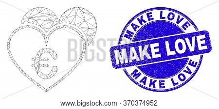 Web Carcass Euro Love Hearts Icon And Make Love Seal Stamp. Blue Vector Round Scratched Seal With Ma