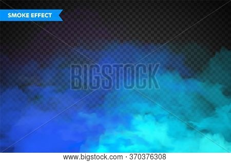 Realistic Colorful Smoke Clouds, Mist Effect. Fog Isolated On Transparent Background. Vapor In Air,