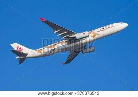 Hong Kong / China - December 1, 2013: Dragonair Special Livery Airbus A330-300 B-hyf Passenger Plane