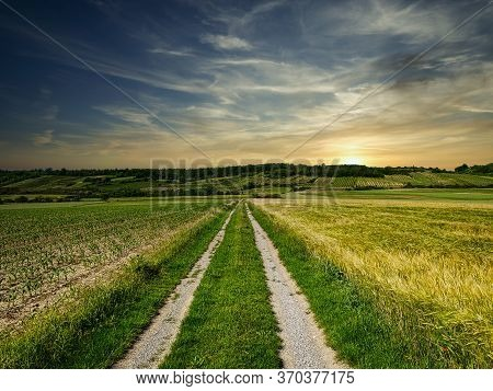 Agriculture Country Road, Beautiful Landscape With Sky And Clouds