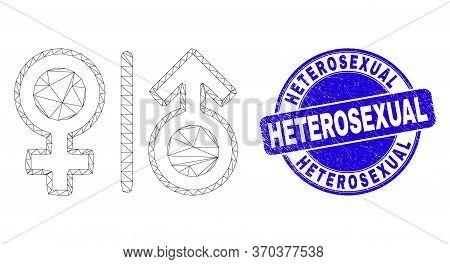 Web Mesh Gender Symbols Pictogram And Heterosexual Seal Stamp. Blue Vector Round Grunge Seal Stamp W