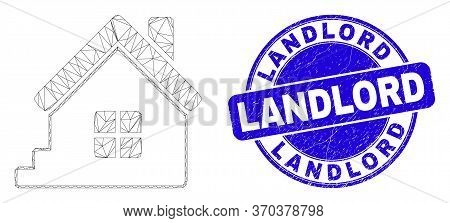 Web Carcass Home Icon And Landlord Seal. Blue Vector Round Grunge Seal With Landlord Phrase. Abstrac