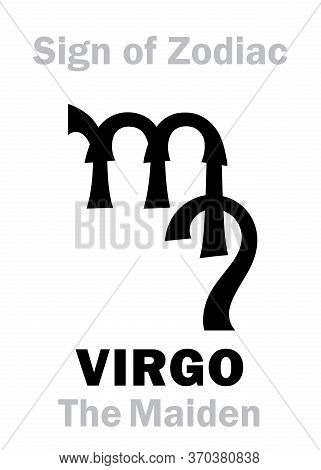 Astrology Alphabet: Sign Of Zodiac Virgo (the Maiden). Astrological Character, Hieroglyphic Sign, My