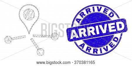 Web Mesh Map Pointer Links Pictogram And Arrived Seal. Blue Vector Round Distress Seal Stamp With Ar