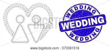 Web Mesh Married Persons Pictogram And Wedding Stamp. Blue Vector Rounded Distress Seal Stamp With W